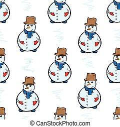 Seamless snowmen on the white