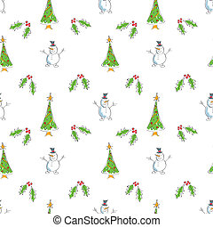 Seamless Snowmen with Trees Holly