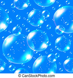Seamless soap bubbles on blue background.