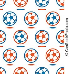 Seamless soccer vector ball pattern over white