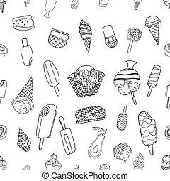 seamless, sorvete, padrão