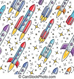 Seamless space background with rockets and stars, cosmos fantastic and breathtaking textile fabric for children, endless tiling pattern, vector illustration cartoon motif.
