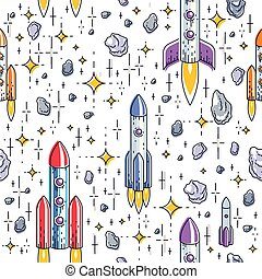 Seamless space background with rockets, stars and asteroids, cosmos fantastic and breathtaking textile fabric for children, endless tiling pattern, vector illustration cartoon motif.