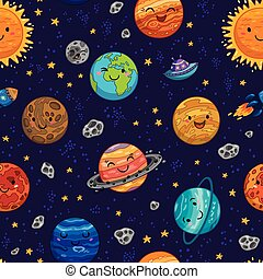Seamless space pattern background with planets, stars and...