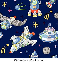 Seamless space pattern. Planets, rockets