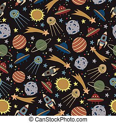 Seamless space pattern with rockets