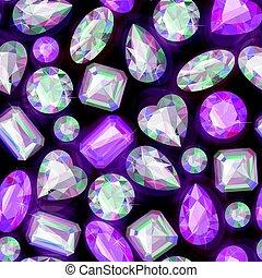 Seamless sparkling gems - Beautiful sparkling gems seamless...