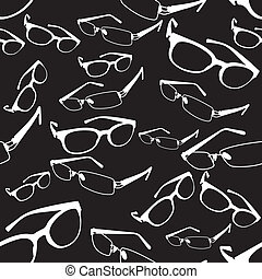 Seamless Spectacle Pattern Vector - image of glasses and...