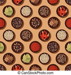 Seamless spices and seasonings pattern background - Fragrant...