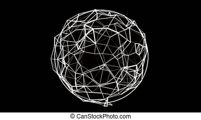 Seamless spinning noisy transparent sphere of dots connected...