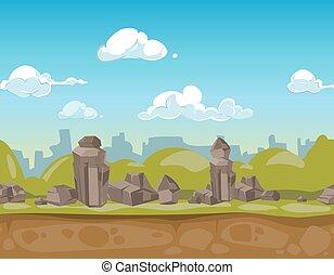 seamless, spotprent, park, landscape, vector, illustratie, voor, ui, spel