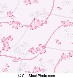 seamless spring flower pattern on pink background