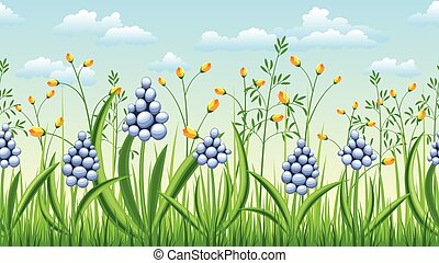 Seamless spring flowers nature background