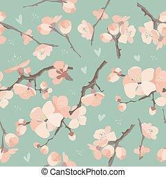 Seamless spring flowers on tree branch pattern