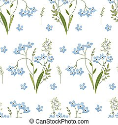 Seamless spring pattern with blue flowers forget me knots