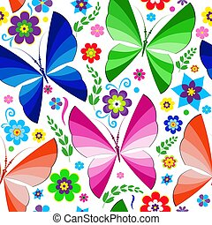 Seamless spring pattern with bright butterflies and flowers