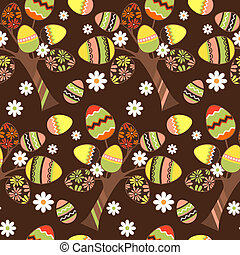Seamless spring pattern with growing easter eggs