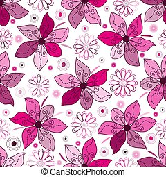 Seamless spring pattern with single pink doodle flowers