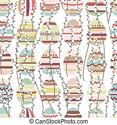 Seamless spring pattern with stylized cute eggs. Endless texture for your design, greeting cards, announcements, posters.