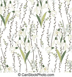 Seamless spring pattern with stylized cute flowers