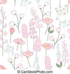 Seamless spring pattern with stylized cute pink flowers