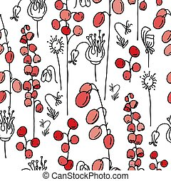 Seamless spring pattern with stylized cute pink flowers. Endless texture for your design