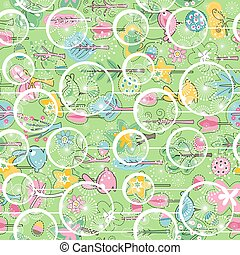 Seamless spring pattern with stylized green trees