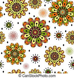 Seamless spring pattern with vintage doodle flowers