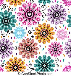 Seamless spring pattern with vintage doodle gradient flowers
