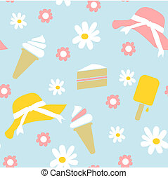 Illustration design of a seamless spring summer themed background