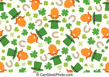 Seamless St. Patrick's Day pattern with leprechaun and funny illustrations