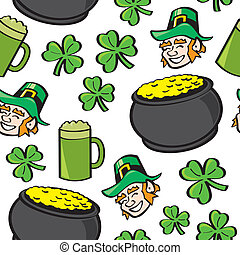 A seamless pattern of well known Saint Patricks Day symbols.