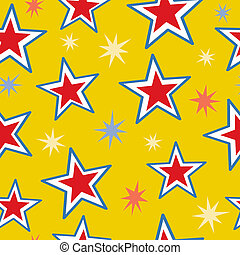 A seamless pattern of red, white and blue stars mixed with fun star bursts.