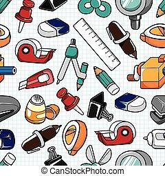 seamless stationery pattern  - seamless stationery pattern