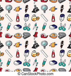 seamless stationery pattern,cartoon vector illustration