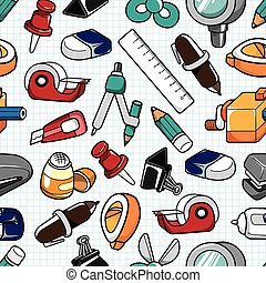 seamless stationery pattern  - seamless stationery pattern