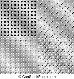 Seamless steel background collection. Vector illustration....