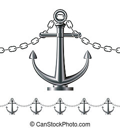 Seamless steel fence featuring an anchor isolated on white. Vector illustration