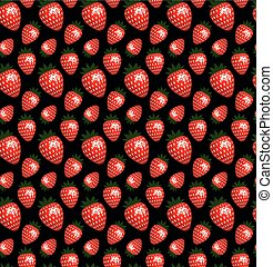 Seamless strawberry pattern on a black background.
