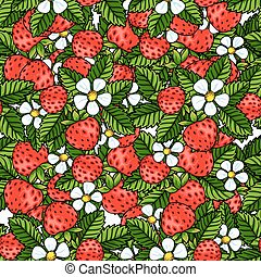 Seamless strawberry pattern on white background