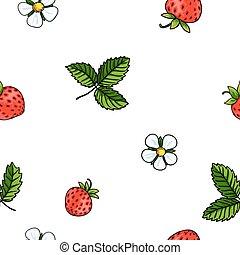 Seamless strawberry pattern on white background