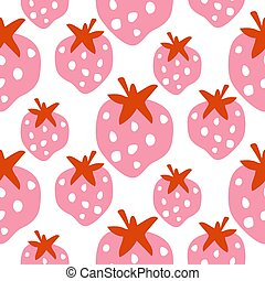 Seamless strawberry pattern texture with bold pink berry vector.