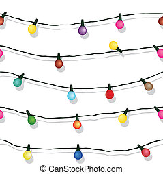 Seamless string of Christmas lights on garland vector background isolated on white