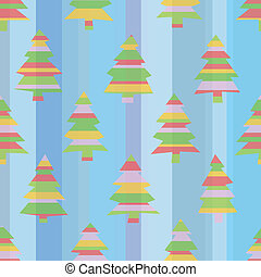 Seamless Striped Christmas Trees