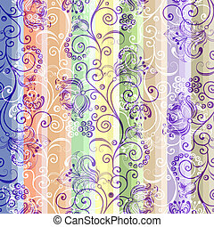 Seamless striped colorful pattern - Colorful floral seamless...