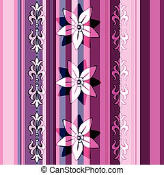 Seamless striped floral pattern