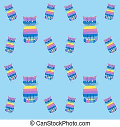 Seamless striped pattern with cute cats on a blue background
