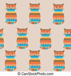 Seamless striped pattern with cute cats