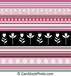 Seamless striped pattern with floral ornaments in pink