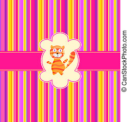 seamless striped pattern with red cat